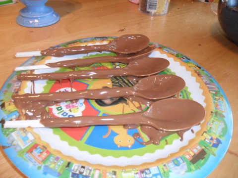 choclate covered spoons