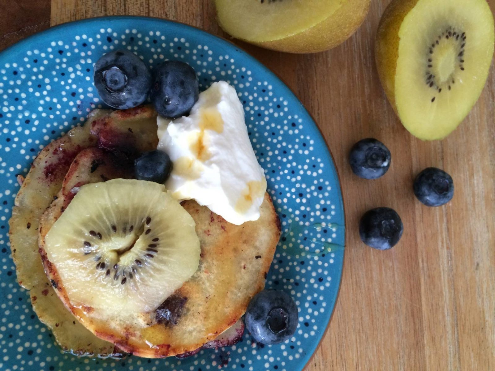 Blueberry and Kiwi Pancakes