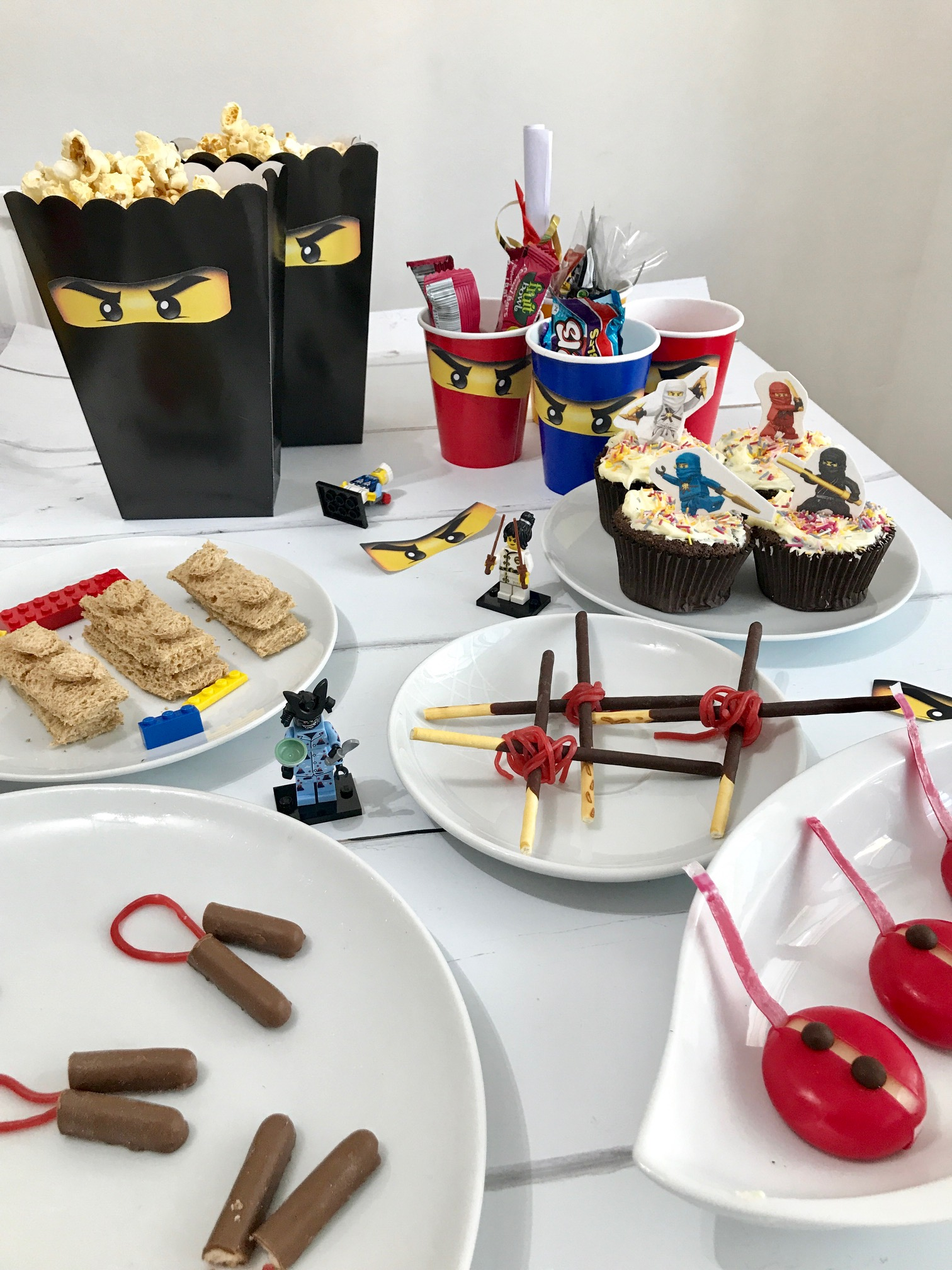 DIY Lego Ninjago Party Ideas including Lego Ninjago party bags, Ninjago party food, Ninjago party tea, How to make lego sandwiches, Lego ninjago party ideas