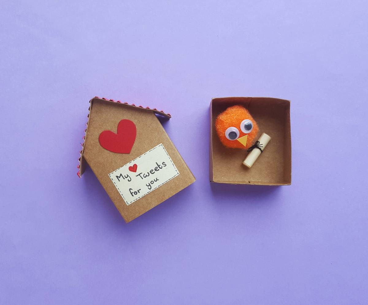 Matchbox Birdhouse and Pompom Bird