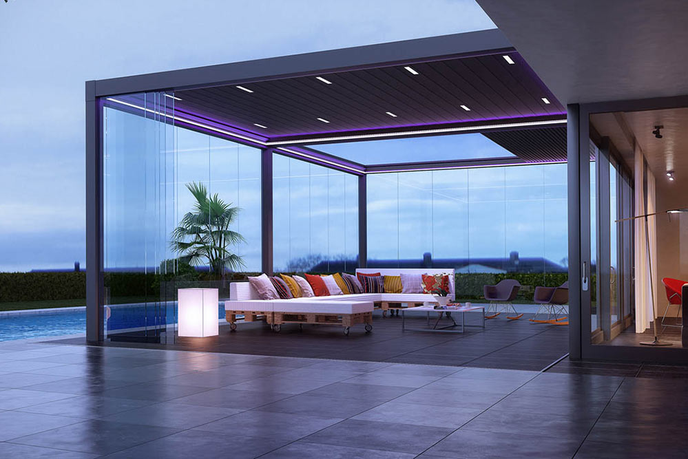 Bring the outside in with a retractable louvered roof